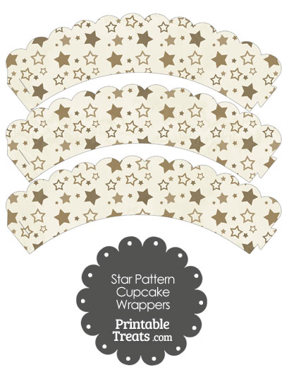 Vintage Brown Star Pattern Scalloped Cupcake Wrappers from PrintableTreats.com