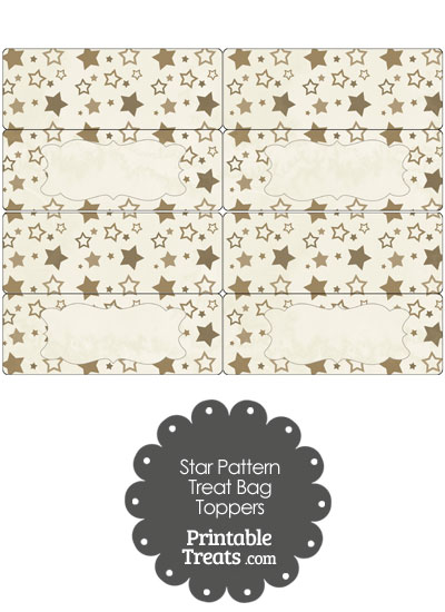 Vintage Brown Star Pattern Treat Bag Toppers from PrintableTreats.com