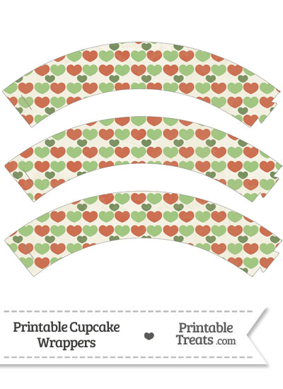 Vintage Christmas Hearts Cupcake Wrappers from PrintableTreats.com