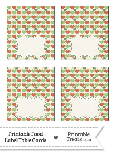 Vintage Christmas Hearts Food Labels from PrintableTreats.com