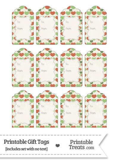 Vintage Christmas Hearts Gift Tags from PrintableTreats.com