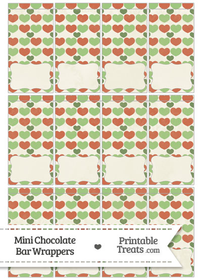 Vintage Christmas Hearts Mini Chocolate Bar Wrappers from PrintableTreats.com