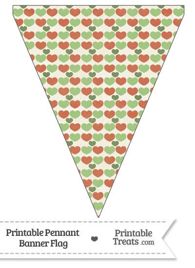 Vintage Christmas Hearts Pennant Banner Flag from PrintableTreats.com