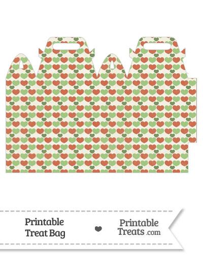 Vintage Christmas Hearts Treat Bag from PrintableTreats.com