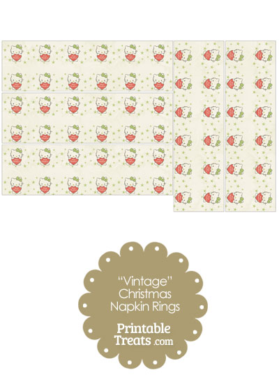 Vintage Christmas Hello Kitty Napkin Rings from PrintableTreats.com