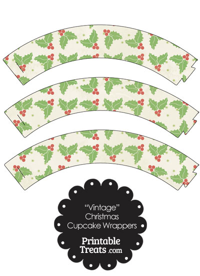 Vintage Christmas Holly Cupcake Wrappers from PrintableTreats.com