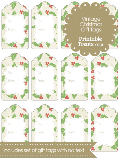 Vintage Christmas Holly Gift Tags from PrintableTreats.com