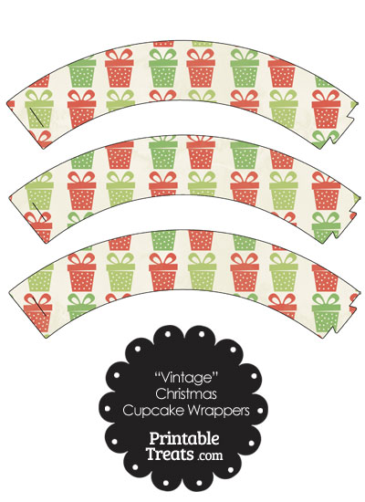 Vintage Christmas Presents Cupcake Wrappers from PrintableTreats.com