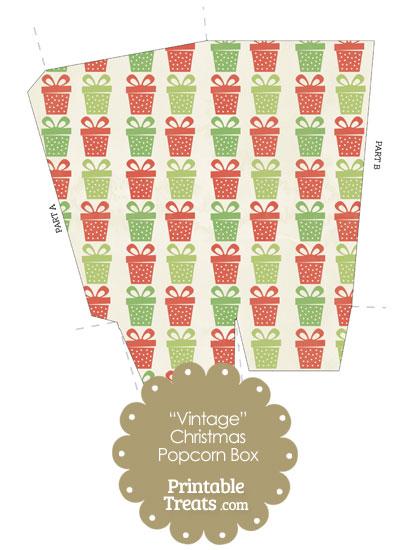 Vintage Christmas Presents Popcorn Box from PrintableTreats.com