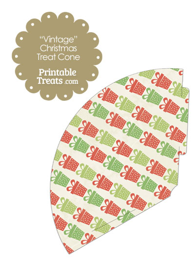 Vintage Christmas Presents Printable Treat Cone from PrintableTreats.com