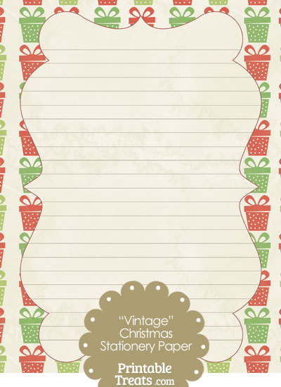 Vintage Christmas Presents Stationery Paper from PrintableTreats.com
