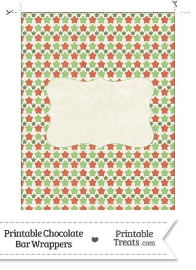 Vintage Christmas Stars Chocolate Bar Wrappers from PrintableTreats.com