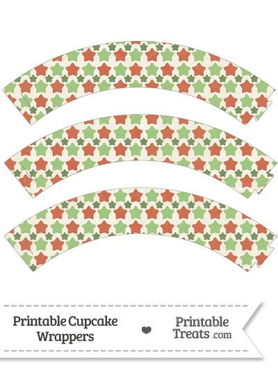 Vintage Christmas Stars Cupcake Wrappers from PrintableTreats.com