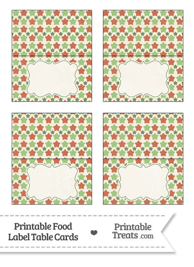 Vintage Christmas Stars Food Labels from PrintableTreats.com