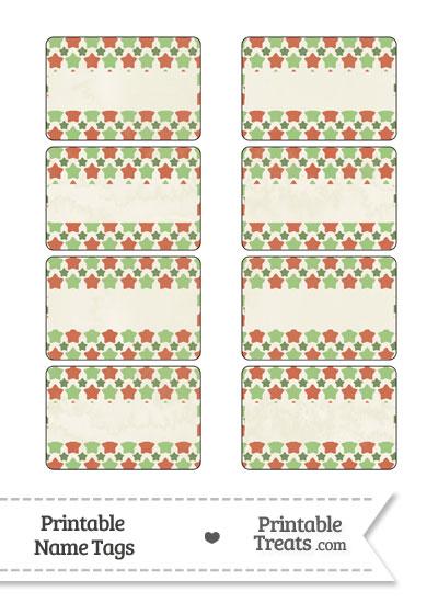 Vintage Christmas Stars Name Tags from PrintableTreats.com
