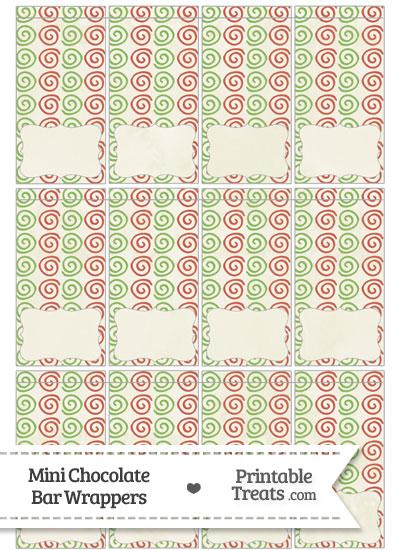 Vintage Christmas Swirls Mini Chocolate Bar Wrappers from PrintableTreats.com