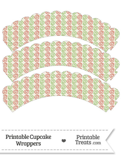 Vintage Christmas Swirls Scalloped Cupcake Wrappers from PrintableTreats.com