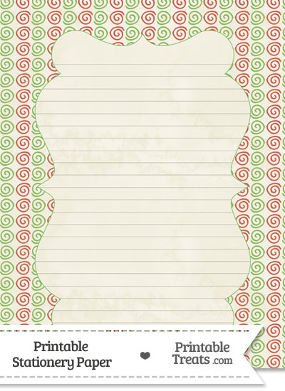 Vintage Christmas Swirls Stationery Paper from PrintableTreats.com