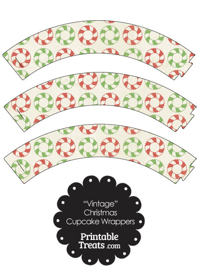 Vintage Christmas Wreath Cupcake Wrappers from PrintableTreats.com