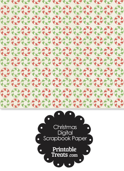 Vintage Christmas Wreath Digital Scrapbook Paper from PrintableTreats.com