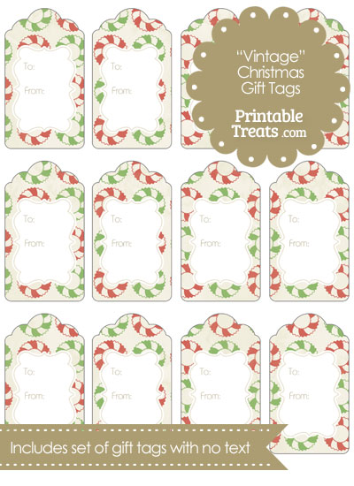 Vintage Christmas Wreath Gift Tags from PrintableTreats.com