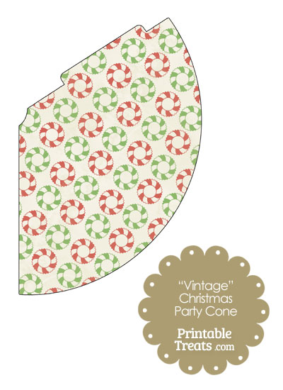 Vintage Christmas Wreath Party Cone from PrintableTreats.com