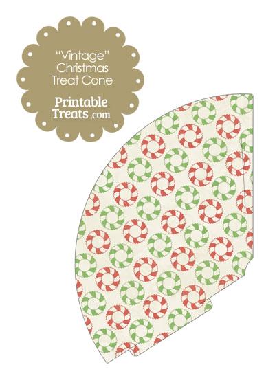 Vintage Christmas Wreath Printable Treat Cone from PrintableTreats.com
