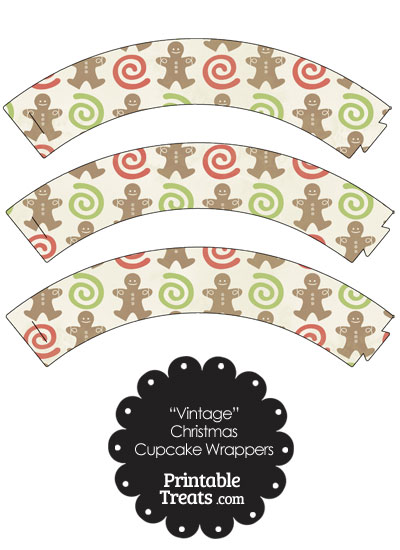 Vintage Gingerbread Cookie Cupcake Wrappers from PrintableTreats.com