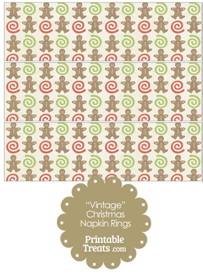 Vintage Gingerbread Cookie Napkin Rings from PrintableTreats.com