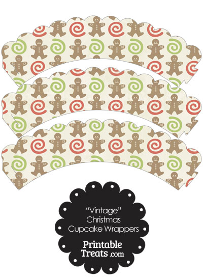 Vintage Gingerbread Cookie Scalloped Cupcake Wrappers from PrintableTreats.com