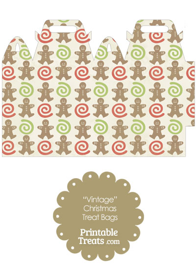 Vintage Gingerbread Cookie Treat Bag from PrintableTreats.com