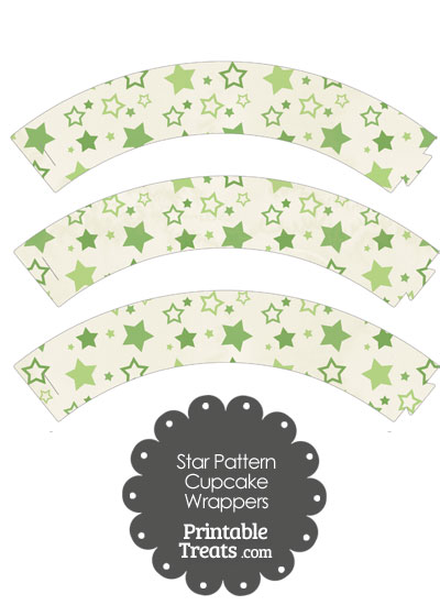 Vintage Green Star Pattern Cupcake Wrappers from PrintableTreats.com