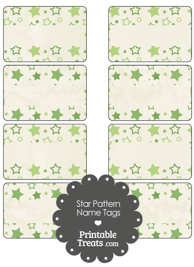 Vintage Green Star Pattern Name Tags from PrintableTreats.com
