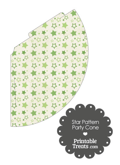 Vintage Green Star Pattern Party Cone from PrintableTreats.com