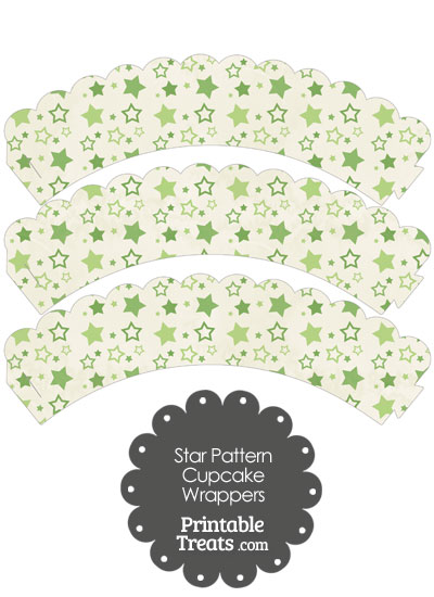 Vintage Green Star Pattern Scalloped Cupcake Wrappers from PrintableTreats.com