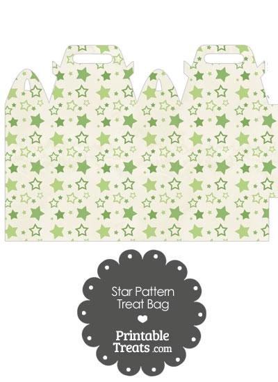 Vintage Green Star Pattern Treat Bag from PrintableTreats.com