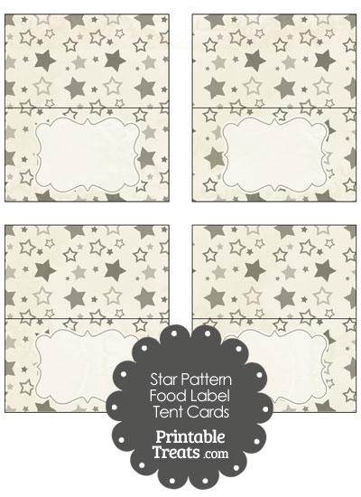 Vintage Grey Star Pattern Food Labels from PrintableTreats.com