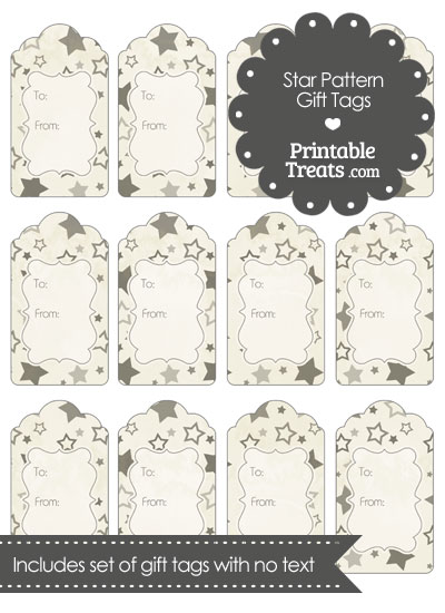 Vintage Grey Star Pattern Gift Tags from PrintableTreats.com