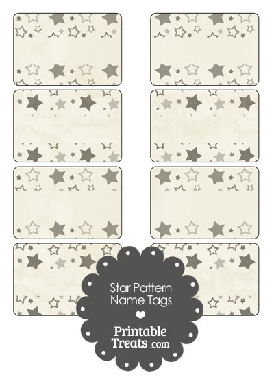 Vintage Grey Star Pattern Name Tags from PrintableTreats.com
