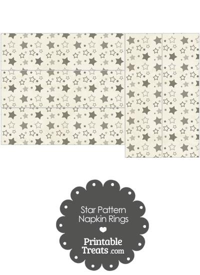 Vintage Grey Star Pattern Napkin Rings from PrintableTreats.com