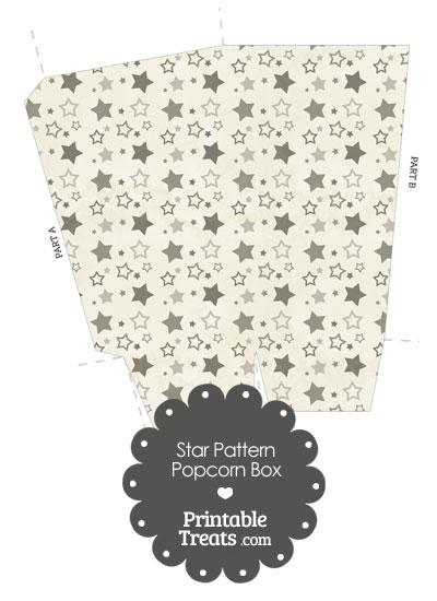 Vintage Grey Star Pattern Popcorn Box from PrintableTreats.com