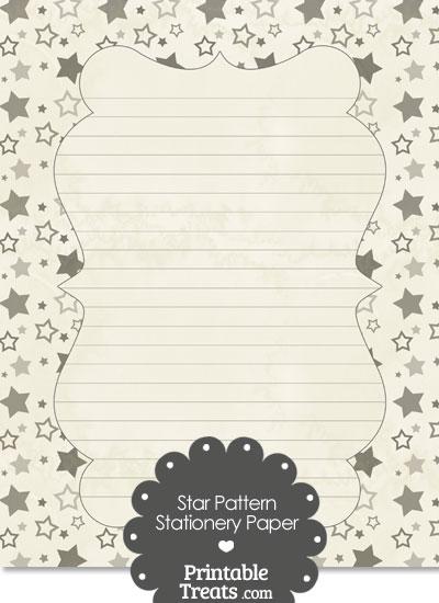 Vintage Grey Star Pattern Stationery Paper from PrintableTreats.com