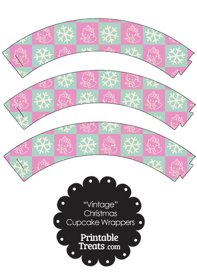 Vintage Hello Kitty Christmas Checkered Cupcake Wrappers from PrintableTreats.com