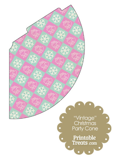 Vintage Hello Kitty Christmas Checkered Party Cone from PrintableTreats.com
