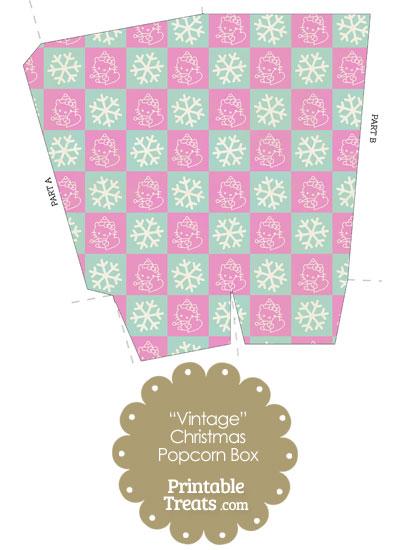 Vintage Hello Kitty Christmas Checkered Popcorn Box from PrintableTreats.com