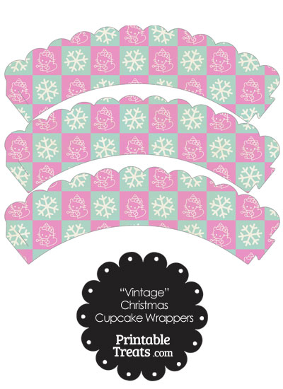 Vintage Hello Kitty Christmas Checkered Scalloped Cupcake Wrappers from PrintableTreats.com
