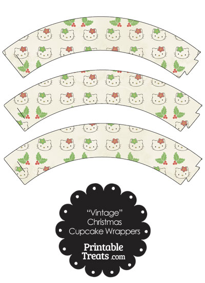 Vintage Hello Kitty Christmas Holly Cupcake Wrappers from PrintableTreats.com