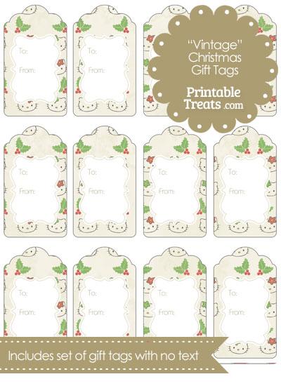 Vintage Hello Kitty Christmas Holly Gift Tags from PrintableTreats.com
