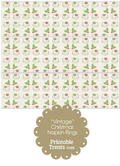 Vintage Hello Kitty Christmas Holly Napkin Rings from PrintableTreats.com