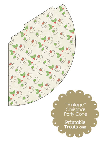 Vintage Hello Kitty Christmas Holly Party Cone from PrintableTreats.com
